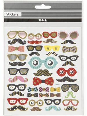 Sticker bril en snor