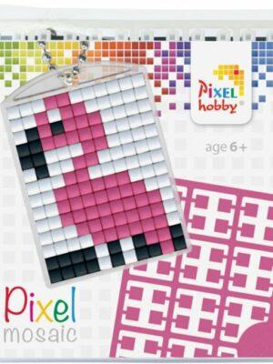 Pixelsleutelhanger Flamingo
