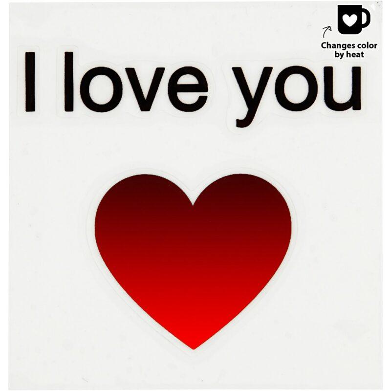 Love sticker voor op beker/glas