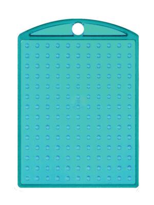 Pixel medaillon transparant turquoise met ketting