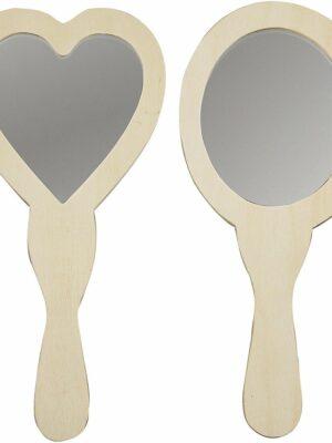 Houten spiegel 23cm