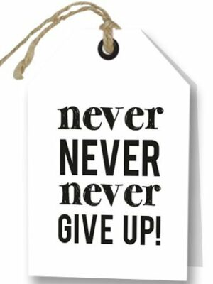 Wenskaart Never Give up
