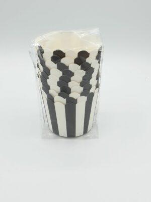 Cupcake bakjes streep zwart 10 stks