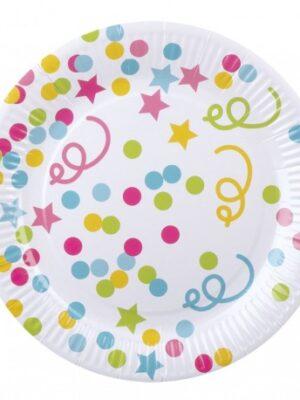 Confetti bordjes 23 cm/ 6 stks