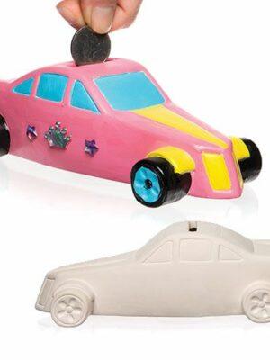 Keramiek race-auto spaarpot