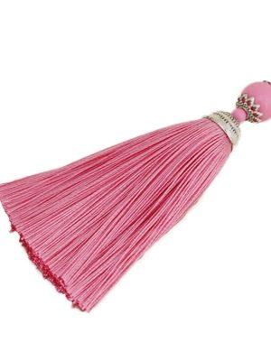Sleutel-kwast-hanger roze