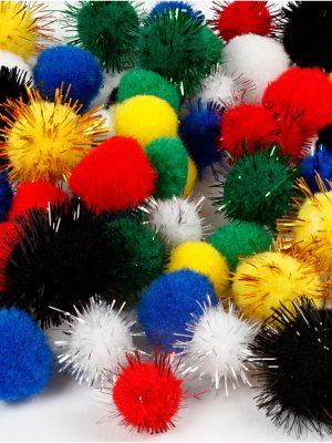Pompons gekleurd