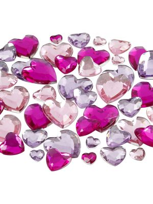 Deco strass roze hartjes