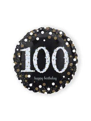Folieballon birthday sparkling 100(45cm)