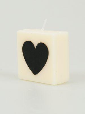 Letter Kaarsje - hartje zwart