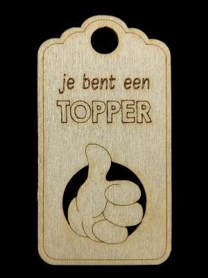 Houten label Topper