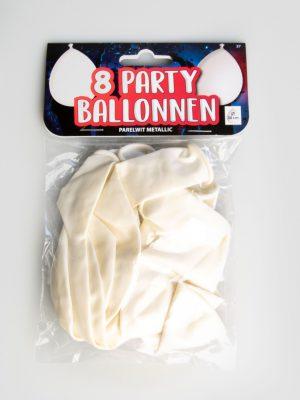 Party Ballonnen - Parelwit metallic