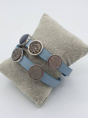 Cuoio armband l.blauw