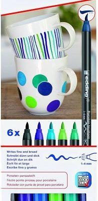 Porselein stiften koele kleuren 5 stks