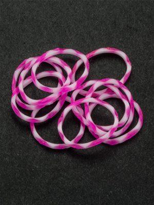 Loom bandjes roze/wit