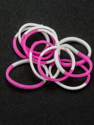 Loombandjes roze/wit