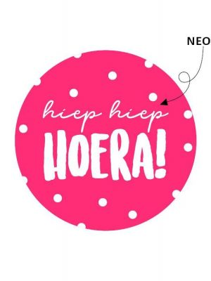 Wensetiket Hoera Roze Neon