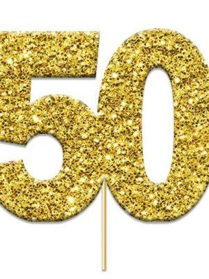 Cake topper 50 glitter goud